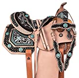 "Manaal Enterprises Premium Leather Western Horse Saddle Tack Get Matching Leather Headstall, Breast Collar, Reins Size 14 to 18 Inches Seat Available (15"" Inch Seat, Blue)"