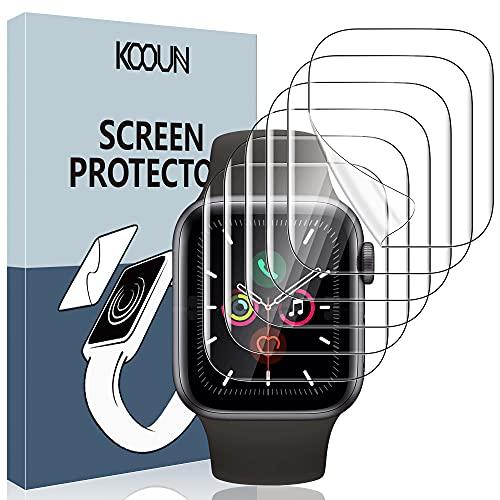 KOOUN [6 Stück] Schutzfolie für Apple Watch 44mm Series 6 5 4 SE, HD Klar Weich Folie (Nicht Glas) für iWatch 44mm SE Series 6 Series 5 Series 4