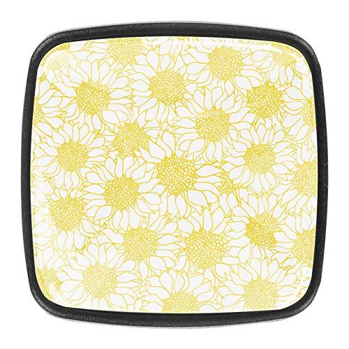 Pomello per cassettiera Daisy Golden Blooming Manopole per armadio da cucina Manopole per armadio trasparente per confezione da 4 pezzi 3x2.1x2 cm