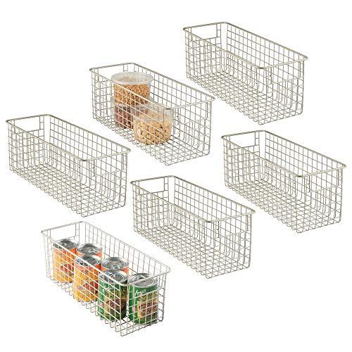 mDesign - Draadmand - organizer/bergruimte - draadgaas/landelijke stijl - voor keukenkastjes/voorraadkast/badkamer/wasruimte/bergkast/ggarage - metaal - 40,6 x 15,2 x 15,2 cm - verpakt per 2 stuks - mat satijn