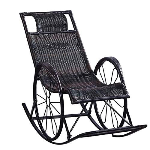 MRZZ schommelstoel rotan, zonnestoelen stoelen volwassen Nap Lounge stoel Lazy stoel oude man schommelstoel binnen vrije tijd gemakkelijk stoel zonnebank tuin ligstoel balkon woonkamer, zwart