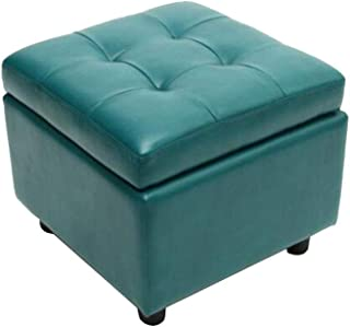 ZHF-Sun Recliners Faux Leather Storage Ottomans Pouffe Foot Stools Square Wooden Support Upholstered Footstool Bench Seat 44 X 44X 38CM (Color : Green)
