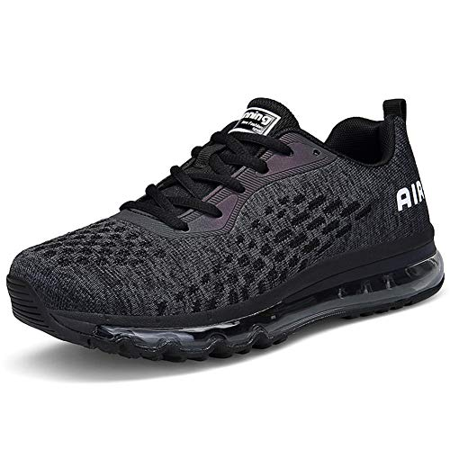 IceUnicorn Herren Damen Laufschuhe Fitnessschuhe Atmungsaktiv Gym Sportschuhe Straßenlaufschuhe Outdoor Turnschuhe Joggen Schuhe Freizeit Sneaker(8078-A/schwarz,45EU)