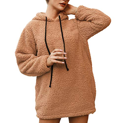Damen Kapuzenpullover Langarm Hoodie Pullover TUDUZ Frauen Faux Woll Mantel Jacke Lang Kapuzenpullis Pulli Hoodys(Khaki,XXX-Large)
