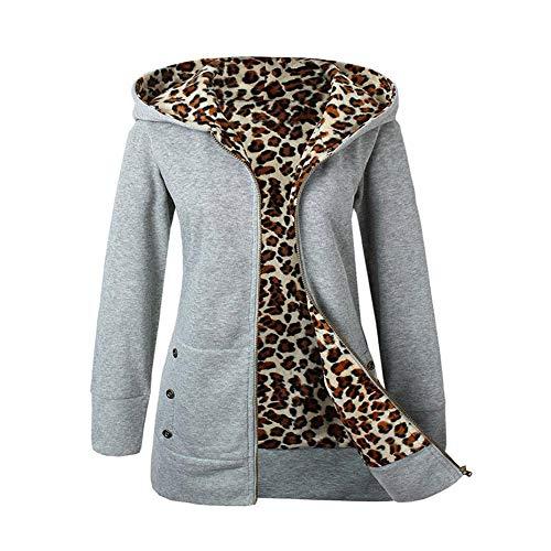 iHENGH Damen Winter Jacke Dicker Warm Bequem Slim Parka Mantel Lässig Mode Reißverschluss Frauen Plus Samt verdickter mit Kapuze Pullover Leopard Zipper(Grau, L)