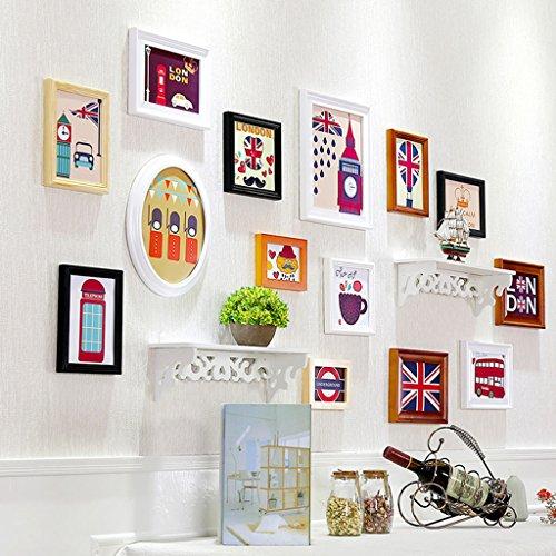 Cadre de Mur Photo Photo décoratifs, 13 Pcs/Ensembles Collage Photo Frame Set, Photo Vintage, Photo Famille Mur Bricolage Photo Ensembles pour Mur Design à la Mode (Couleur : B)
