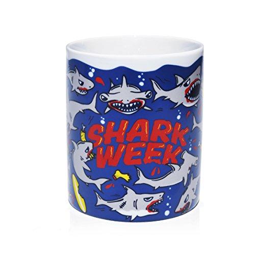VOODOO ISLAND Tasse mug Petit-déjeuner de Porcelaine Blanche 30 cl. Modèle Requin