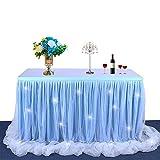 Dream Princess Style Tulle Gonna da tavolo Tovaglia con nastro filettato Fluffy Mesh per rettangoli o tavoli rotondi Birthday Wedding Baby Shower Party Decorazione da picnic (6ft, Blu+ Light)
