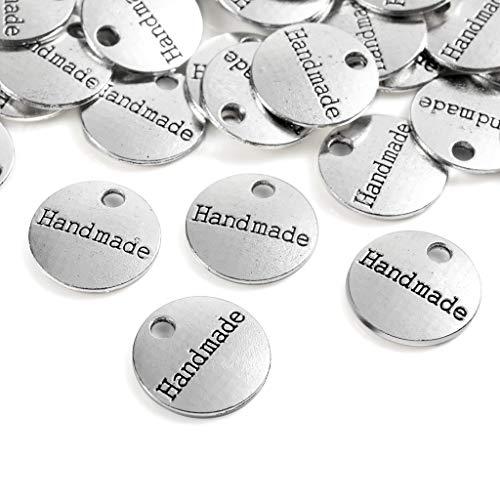 100 Stück Antique Handmade Metall knöpfe Label Charm Anhänger DIY Handwerk Schmuck Herstellung Zubehör Basteln Dekorationen Handmade Kleidungszubehör Dekor Metall Handmade Knöpfe DIY Buttons