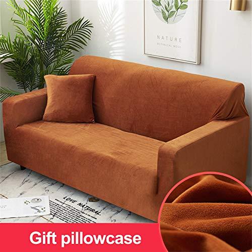 HOME-SOFA Einfarbig Plüsch Sofaüberzug, Winter Warm Couch-abdeckungen Hohe Elastische Anti-rutsch Möbel Protector Mit Gummibund(3-Stück)