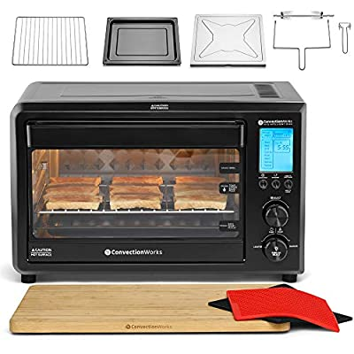 ConvectionWorks Hi-Q Intelligent Countertop Oven Set, 9-Slice XL Convection Oven Toaster w/ Bamboo Cutting Board (10 Accessories, Rotisserie & Spit Included), 1500 Watt, Stainless Steel, Teflon-free (Black)