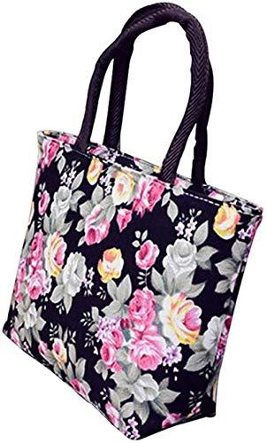 ABO Frauen Rose Flower Canvas Kleiner Reißverschluss Einkaufstasche Einkaufstasche Umhängetasche, Schwarz, 30 cm x 20 cm x 9 cm