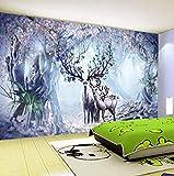 Papel tapiz 3D Estéreo 3D Fantasía Bosque Elk Fotomurales de pared Sala de niños Sala de estar TV Sofá Telón de fon Pared Pintado Papel tapiz 3D Decoración dormitorio Fotomural sala mural-350cm×256cm