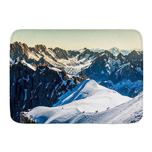 HATESAH Bathroom Rugs Bath Mat,Mont Blanc Chamonix French Alps France Europe Tourists Climbing Mountain,Non Slip Shower Mat Super Cozy Floor Rug Doormats Carpets Bathroom Decorations