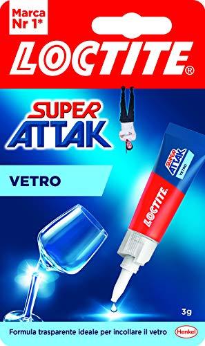 Loctite Super Attak Vetro, colla per vetro di alta qualità, super colla istantanea per vetro, colla trasparente facile da usare, durevole e riutilizzabile, 1 x 3 g
