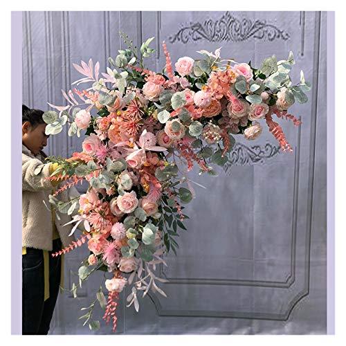TAIYUANNT Künstliche Blumen 1M dreieckige Blumen Hochzeitsdekoration für Hochzeit Ecke Blume Anordnung Künstliche Blume Wand Hintergrund Pflanze (Color : Coral pink)