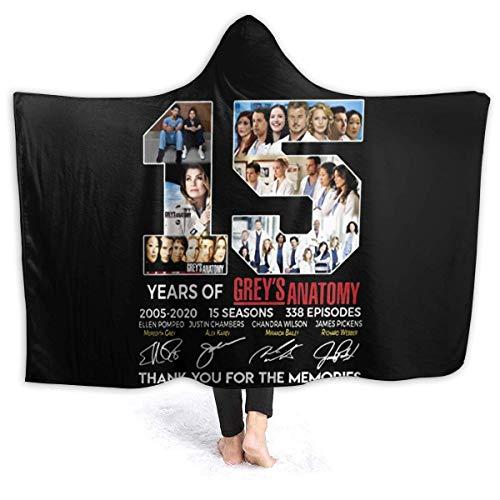 N \ A Grey's Anatomy 15 años de 2005-2020 15 estaciones Sherpa Manta con capucha súper suave y cálida de forro polar cómodo para llevar manta de micro...