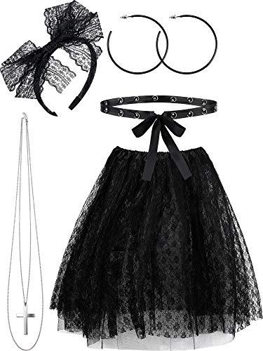 Hicarer 5 Pieces 80s Costume Sets, Women's 80s Lace Pop Star Fancy Accessories Set, Lace Tutu Skirt Outfits for Retro Party