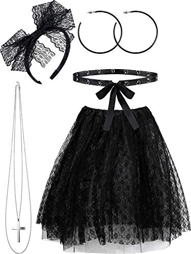 Hicarer 5 Pieces 80s Costume Sets, Women's 80s Lace Pop Star Fancy Accessories Set, Lace Tutu Skirt Outfits for Retro Party