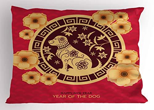 ABAKUHAUS Jaar van de Hond Siersloop voor kussen, Dieren, standaard maat bedrukte kussensloop, 90 x 50 cm, Dark Coral Mosterd
