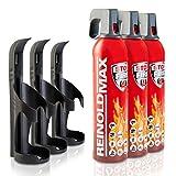XENOTEC Premium Feuerlöschspray – 3 x 750ml – 3 Wandhalter - Stopfire – Autofeuerlöscher – REINOLDMAX – inklusive Wandhalterung schwarz – wiederverwendbar…