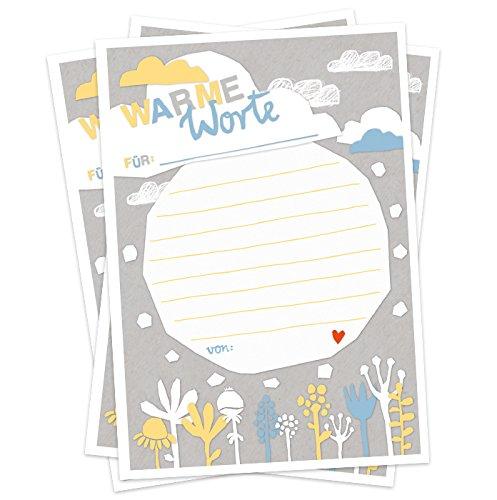 Hochzeitsspiel für Gäste, 52 Postkarten für Glückwünsche, als Warme Worte Dusche zur Hochzeit, Taufe, Recyclingpapier Partyspiel für Erwachsene, Scherenschnitt Design, Weiß Grau Blau Gelb