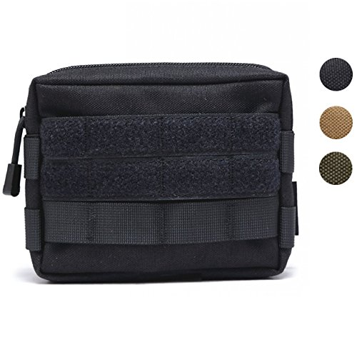 HOANAN Molle Pouches, Tactical Admin Pouch Compact EDC Utility Gadget Gear Pouch Military Carry Accessory Belt Hanging Waist Bag(Black