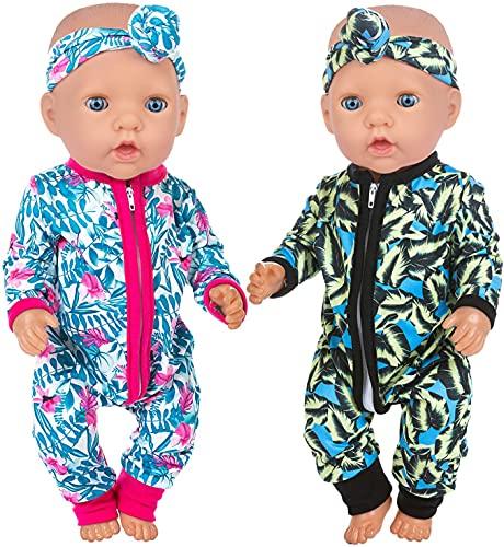 ZITA ELEMENT 2 Sets Baby Doll Kleidung Outfits Overalls mit 2 Stirnbändern für 14-16 Zoll Babypuppe, 43 cm New Born Babypuppe, 15 Zoll Puppe und American 18 Zoll Puppe Kleidung und Accessor