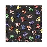 TropicalLife HaJie Tovaglioli colorati a forma di teschio, osso, tovagliolo di carta satinata, in poliestere, riutilizzabili, per tavolo e bambini, 50,8 x 50,8 cm, 4 pezzi
