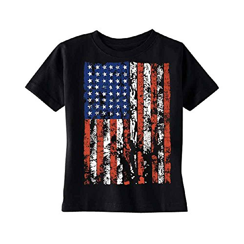 Distressed American Flag Toddler T-Shirt Vintage USA Flag 4th of July Kids Black 5T