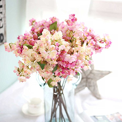 Artificial Flowers, Fake Flowers Silk Artificial Cherry Blossom Bridal Wedding Bouquet for Home Garden Party Wedding Decoration 3 Pcs (Red & Light Pink)