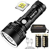 Luz de flash LED impermeable de alta potencia de 30000-100000 lúmenes, linternas superbrillantes de 3 modos con batería de alta potencia y carga USB (P70 con 26650 (2 baterías))