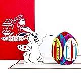 """3D Pop Up Karte""""Osterhase mit Osterei"""", Osterkarte mit Umschlag, 3D Karte zum Ostern - als Grußkarte, Geschenk & Gutschein"""