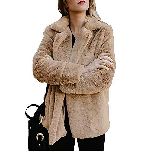 ZHANSANFM Plüschmantel Damen Flauschiger Revers Cardigan Wintermantel mit Tasche Unifarben Parka Mantel Übergangsjacke Mode Elegant Coat weichem Warme Kunstpelz Fleecejacke (XL, Khaki)
