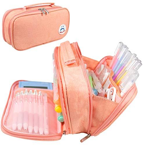Estuche Lápiz Bolsa Gran Capacidad Bolso Maquillaje Bolígrafo Escritorio Organizador Almacenamiento Marcador Caja Papelería para Colegio Oficina Estudiantes Adolescente (rosado1)
