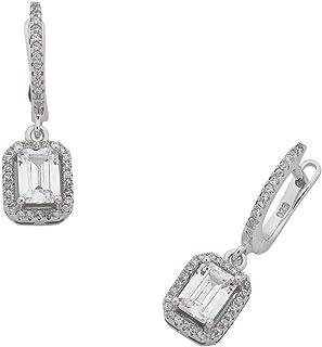 Bevilles Sterling Silver Cubic Zirconia Baguette Earrings Drop
