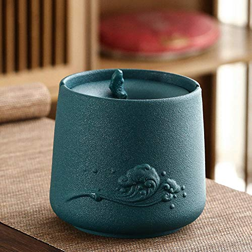 Cenicero Hogar Sala de estar Cubierta de ceniza anti-vuelo Oficina Cilindro de tabaco de cerámica 11 * 10,5 cm-Tinta