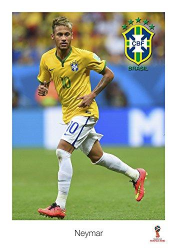 Salopian Sales Neymar Brasilianer Fußballspieler Bunt Poster #1 World Cup 2018, Brasilien, Sport, Sportler, Fußball, Tor schießen, Plakat A3 420 x 297mm
