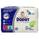Dodot Sensitive Toallitas Para Bebé 2 Paquetes De 54 Unidades, 108 Toallitas