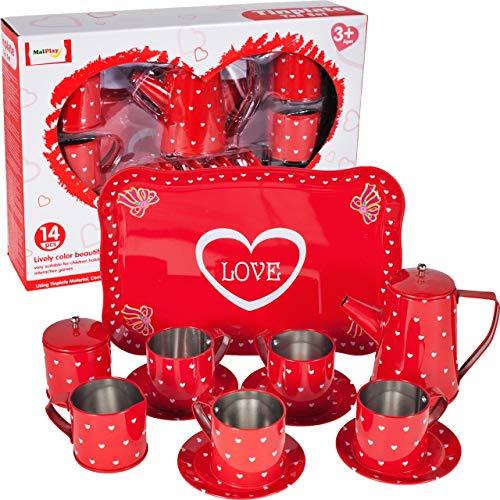 MalPlay Teeservice | Kaffeeservice Geschirr aus Metall | tolle Ergänzung für die Kinderküche | 14-teiliges Teeset | Teller | Tassen | Tablett | für Kinder Mädchen ab 3 Jahren