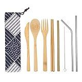 Juego de cubiertos de bambú reutilizables, kit de cubiertos, utensilios de viaje de bambú portátil con cuchillo, tenedor, cuchara, palillos, pajitas de acero inoxidable, limpiador de cepillo