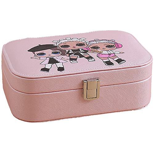 Collar Pulsera PU Organizador De Joyería De Cuero Artificial, Caja De Almacenamiento De Joyas De Viajes Pequeños, Pendientes De Anillo Organizador De Caja De Joyería Pink