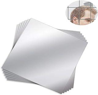 Mengger Espejo Pared Adhesivo Flexibles Láminas Hoja Conjunto Decorativos Cuadrado Acrílico Auto-Adhesivas Pegatinas Azulejos para Decoración del Hogar 12 Piezas Espejo