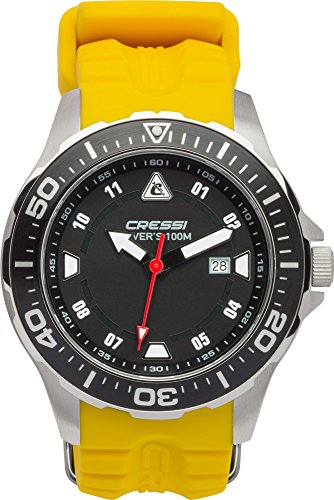 Reloj amarillo sumergible con correa de alta calidad