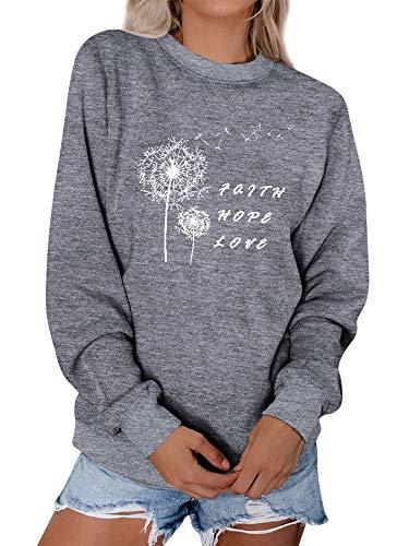 Dresswel Damen Faith Hope Love Sweatshirt Löwenzahn Pullover Pusteblume Pulli Rundhals Langarmshirt Oberteile Bluse Shirt
