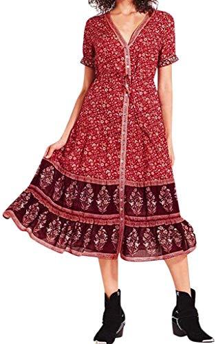 Mojoun Women Summer Short Sleeve V Neck Floral Print Bohemian Midi Dress Casual Loose Boho Flowy Beach Long Maxi Dress,Red,Small