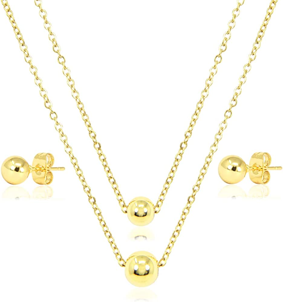 MEPLUS FASHION Women Teen Girls Stainless Steel Fashion Jewelry Necklace and Earrings Set