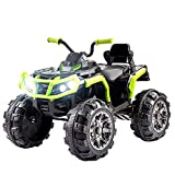 YYAO 12V Kids Electric Truck Power Motorized Cars Wheels 4-Wheeler ATV Quad Ride On Car w/ 2 Speeds,Twin Motors,MP3 Music Player,Horn,Headlights
