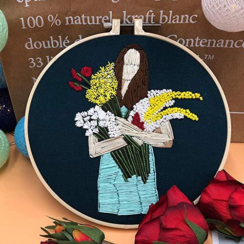ChAYY borduurwerk DIY handgemaakt bevat patronen en instructies, gekleurde draden en borduurlijst_ Über 20cm De betekenis van bloemen