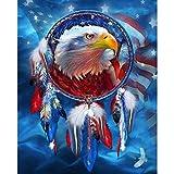 Ginfonr 5D Diamond Painting Diamante Pittura Blue Eagle Dream Catcher Bandiera Americana Bird con Kit Numerici Pittura per Trapano Completa con Decorazioni da Parete Diamonds Arts 30 * 40 cm